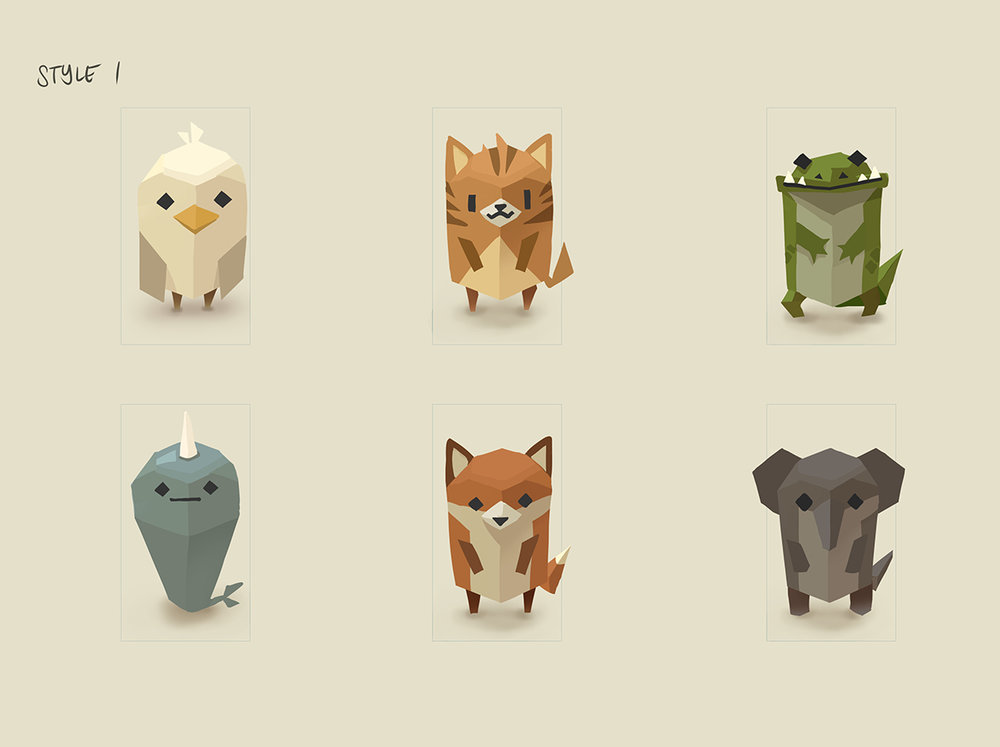 This was a bunch of concepts for another game pitch for our studio.  This time,  it's an animal collection game inspired by Kleptocats.   A seagull,  a cat,  an alligator,  a narwhal,  a fox, and an elephant were selected for the style exploration. This batch was the one that got the most attention, since we potentially could've done lowpoly  models of them in 3d, once the game was greenlit.