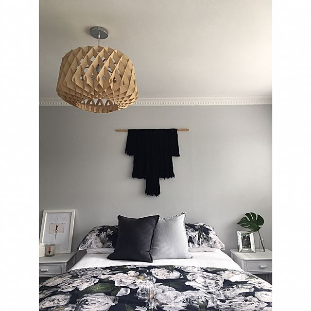 A new duvet leads to a bedroom make over | new blog post up with details on our master bedroom reno from when we moved in to now. Link in bio x . . . . . #RADdesign #design #interiordesign #homedecor #home #DIY #renovation #reveal #inspiration #Interior #crisp #modern #inspiration #room #crisp #clean #flower #black  #white #concrete #resene #bedroom #masterbedroom #orchid #grey #floral #adairs #washanging #wallacecotton