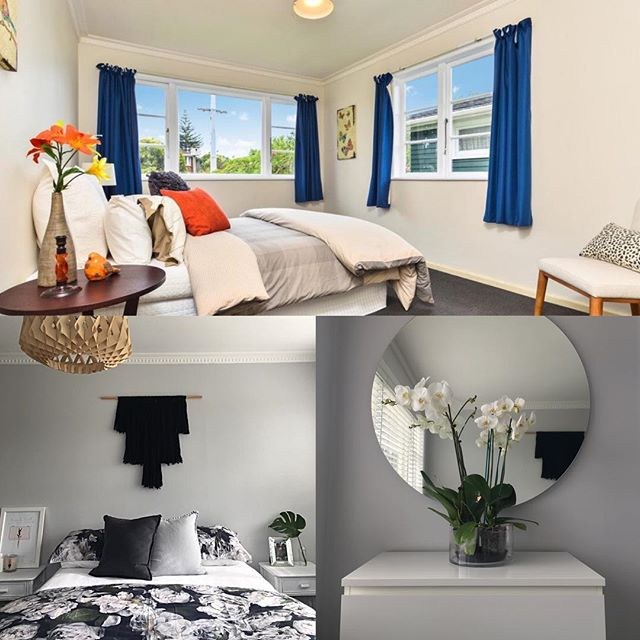 Master bedroom before & after | full details on the blog. Link in bio x . . . . . #RADdesign #design #interiordesign #homedecor #home #DIY #renovation #reveal #inspiration #Interior #crisp #modern #inspiration #room #crisp #clean #flower #black  #white #concrete #resene #bedroom #masterbedroom #orchid #grey #floral #adairs #wallhanging #wallacecotton #mirror