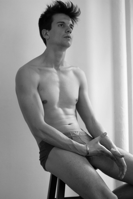 Underwear: Emporio Armani, Bracelet: Cartier