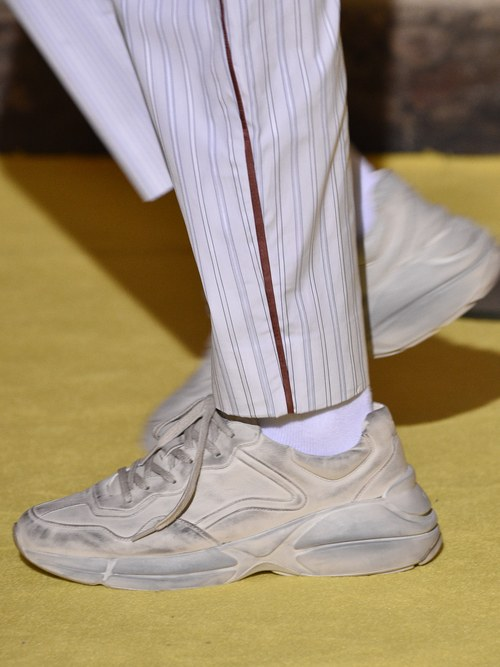 """Gucci's """"Pre-distressed"""" sneaker. Soon to be seen on a hypebeast near you."""