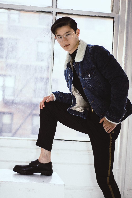 Jacket: ASOS, Sweater, Pants, & Glasses: H&M, Shoes: Zara