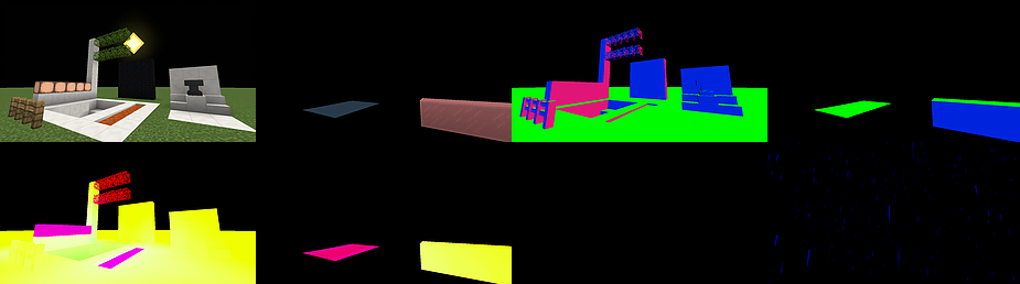 The data in the gbuffers in BSL. Top row, left to right: color of opaque objects, color of transparent objects, normals of opaque objects, normals of transparent objects. Bottom row, left to right: material flags and lightmap data of opaque objects, material flags and lightmap data of transparent objects, unused, and weather