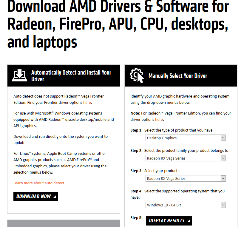 Navigate to http://support.amd.com/en-us/download and locate your graphics card using the search boxes and click display results