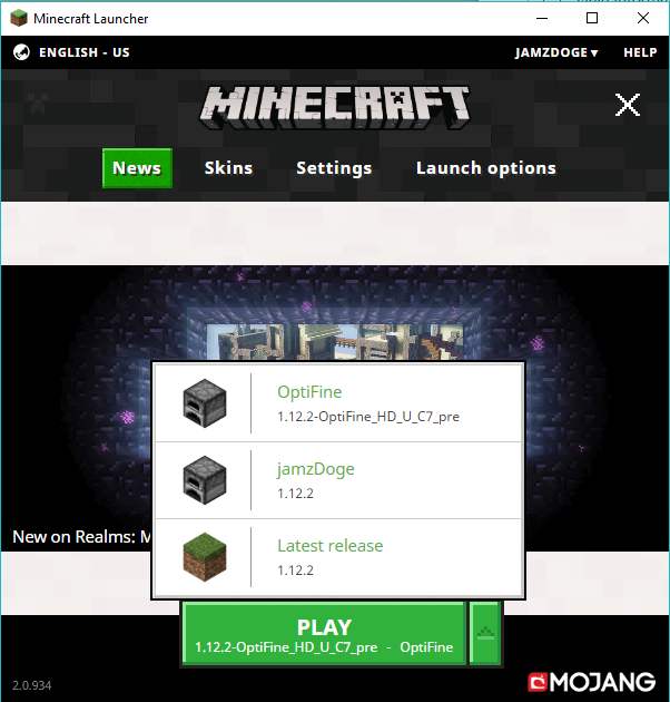 Select the News tab, click the green arrow besides the play button, and select optifine if it has not been selected already