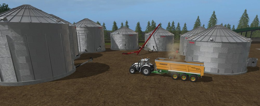 The Twister grain bins and Farm King augers speak to the Mid-West America look I'm going for. The taller auger in the background is tied to the input trigger for the farm silo system, while the smaller auger loading the tipper is tied to the output trigger. Both augers are static models and cannot be moved between bins but as all of the bins feed one common farm silo system that wont be an issue.