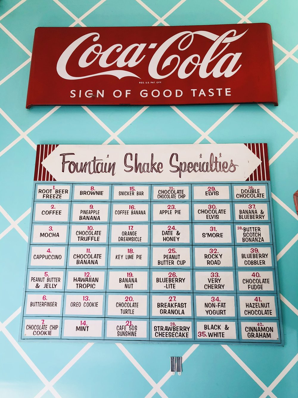 The milkshake menu.  I had one of the chocolate ones.