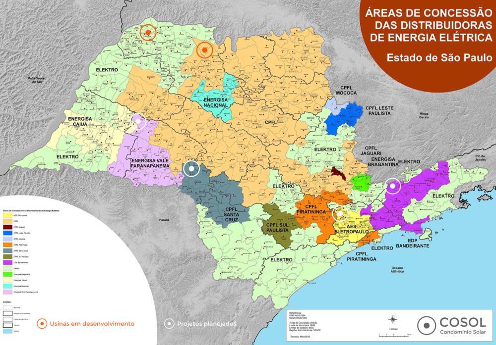 ....Mapa dos projetos da COSOL em São Paulo. Mapa das áreas da distribuição e permissão no Estado de São Paulo. Fonte: Governo do Estado SP ..