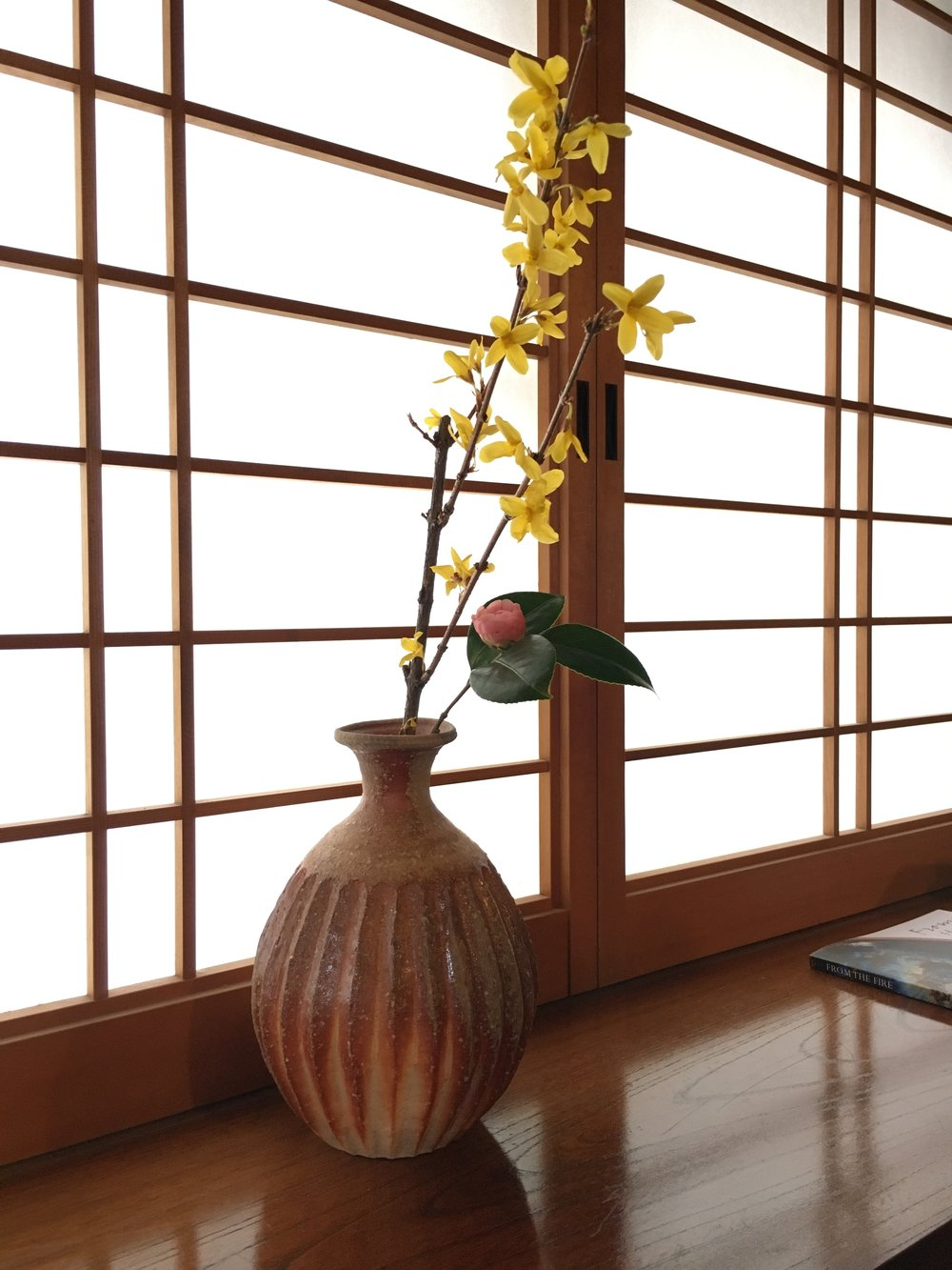 Yoshiko's beautiful vase and flower arrangement.