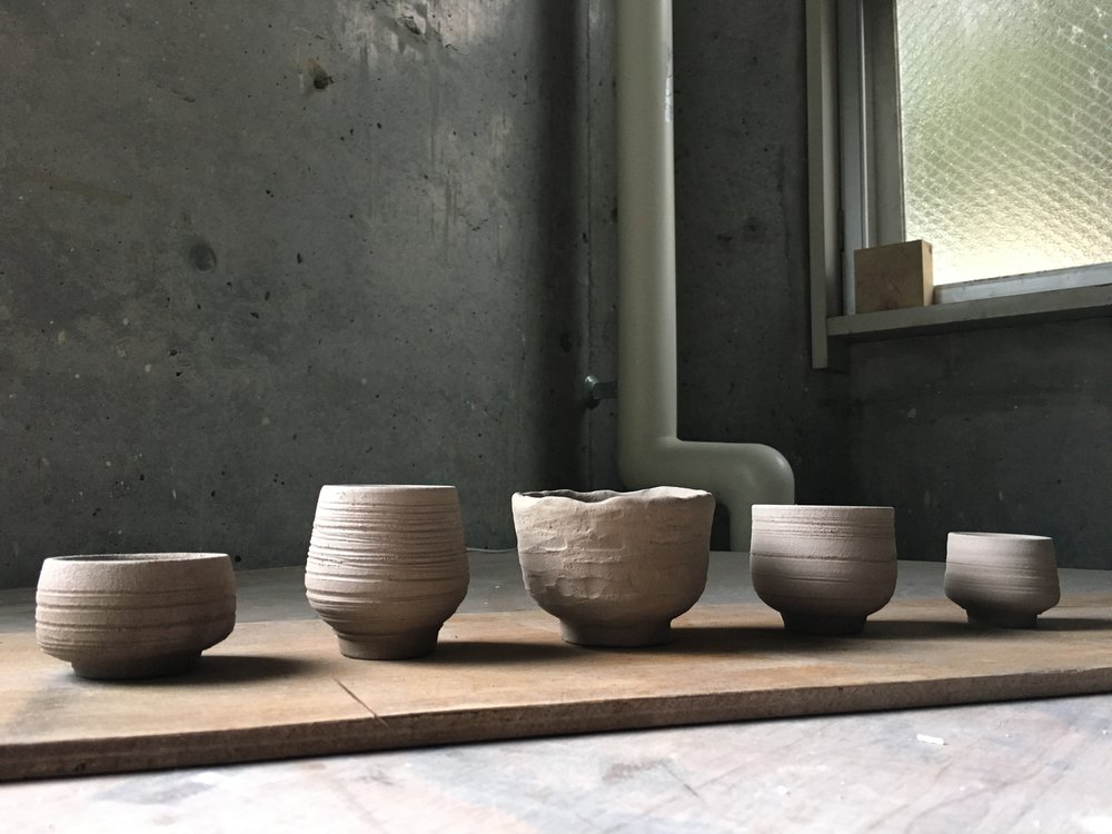 Tea bowls - including a vessel (centre) based on the lesson we had with the Tea Master.