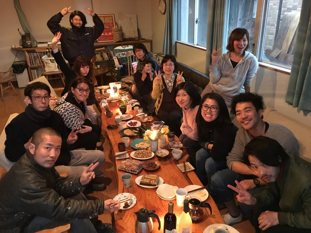 Staff and artists gather to say farewell to Watarai-san long standing staff member and those of us about to leave.