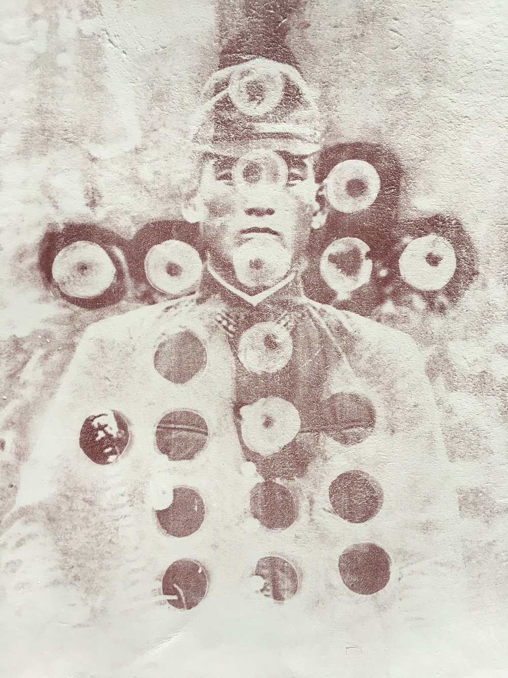 Shining Officer , 2018, 21 x 14 cm,  Oxide print on stoneware clay