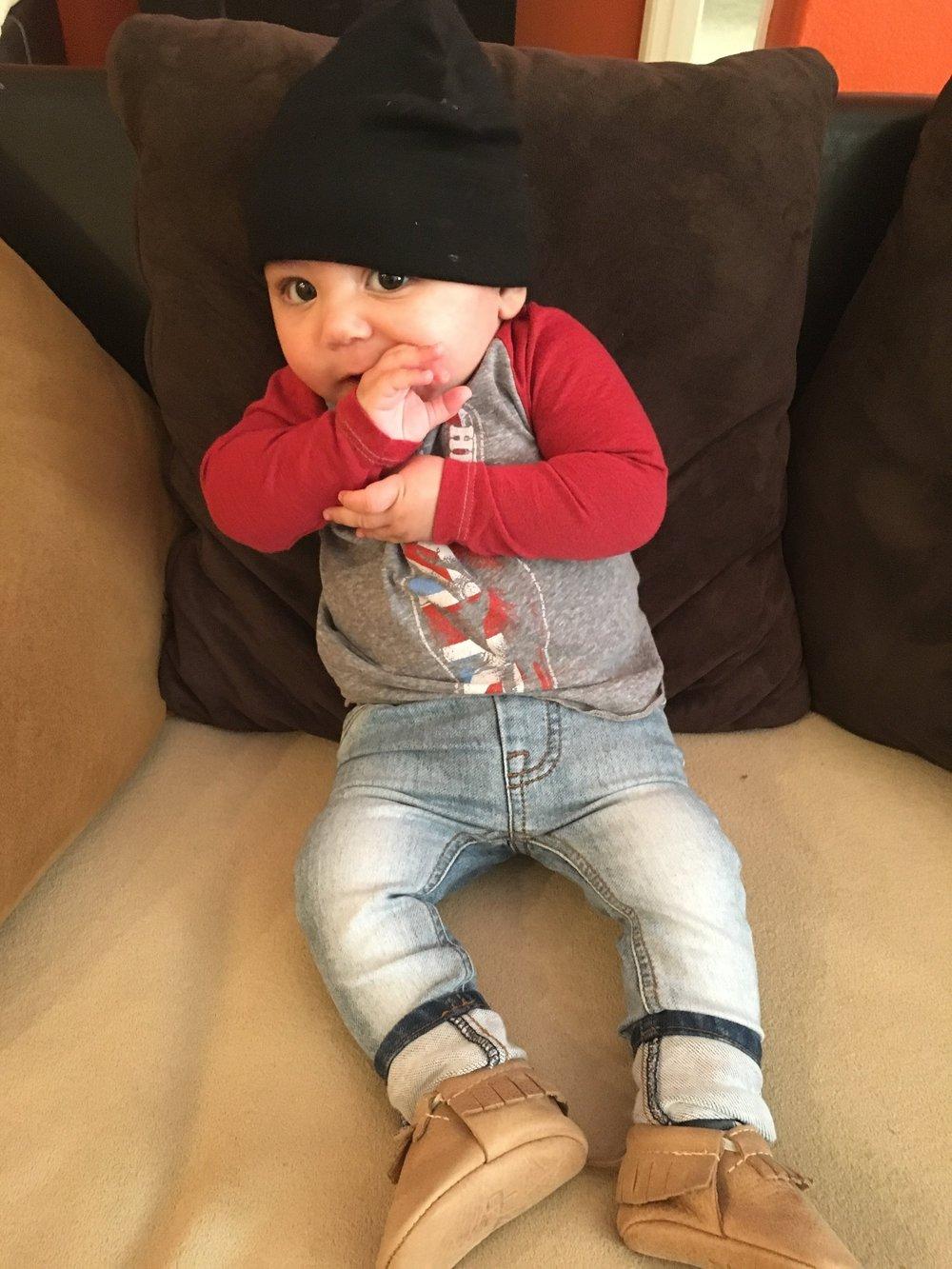 Kohen Sebastian:4 months old. Rockin' Beau Hudson skinny jeans, Hey Jude raglan tee,Freshly Picked mocs, and an LBB (little black beanie).
