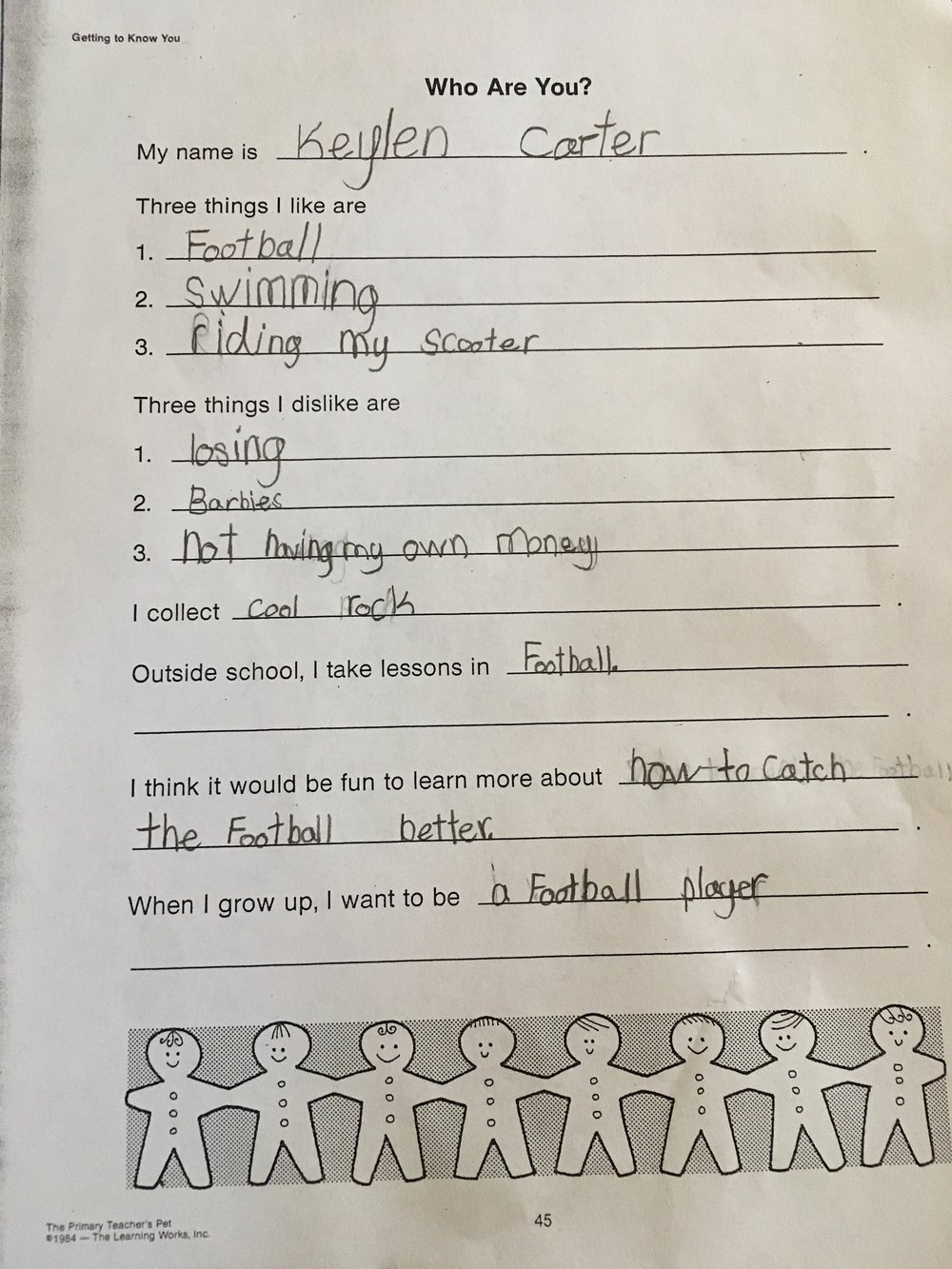 First assignment of 1st grade - getting to know Keylen. ALl of this sounds about right.