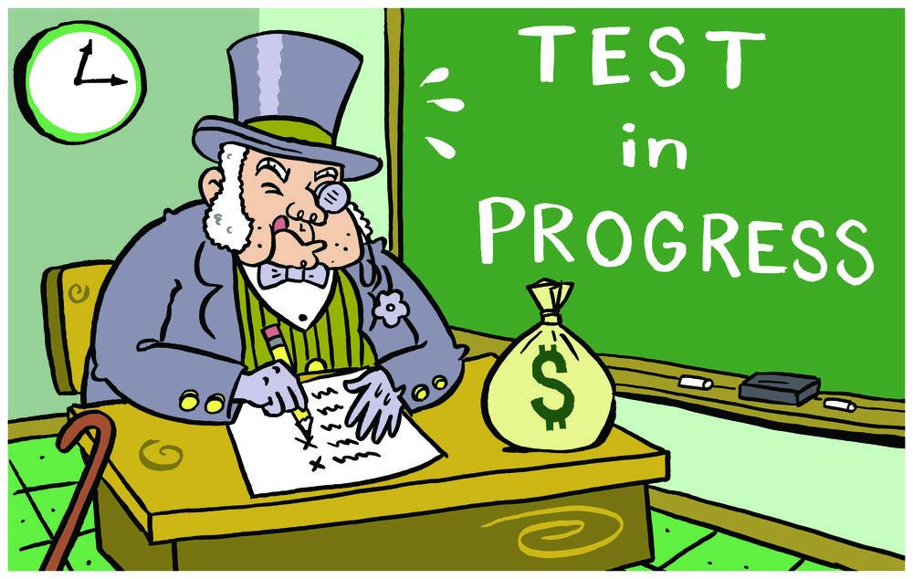 No cheating.  •  Cartoon by Lance Hansen.