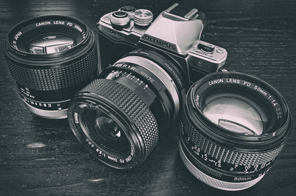 Olympus OM-D E-M10 Mark II with Canon FD lenses for that Retro look...