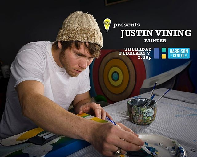We are so excited to have painter Justin Vining for our first Artspeak Presents of the year! Come to the Harrison Center on February 7th to hear about his work, inspirations, and his view of Indy's Art community!  We are also excited to partner with @harrisoncenterarts ; our 2019 event venue partner!  Doors open at 7; event starts at 7:30 in the Spec gallery!