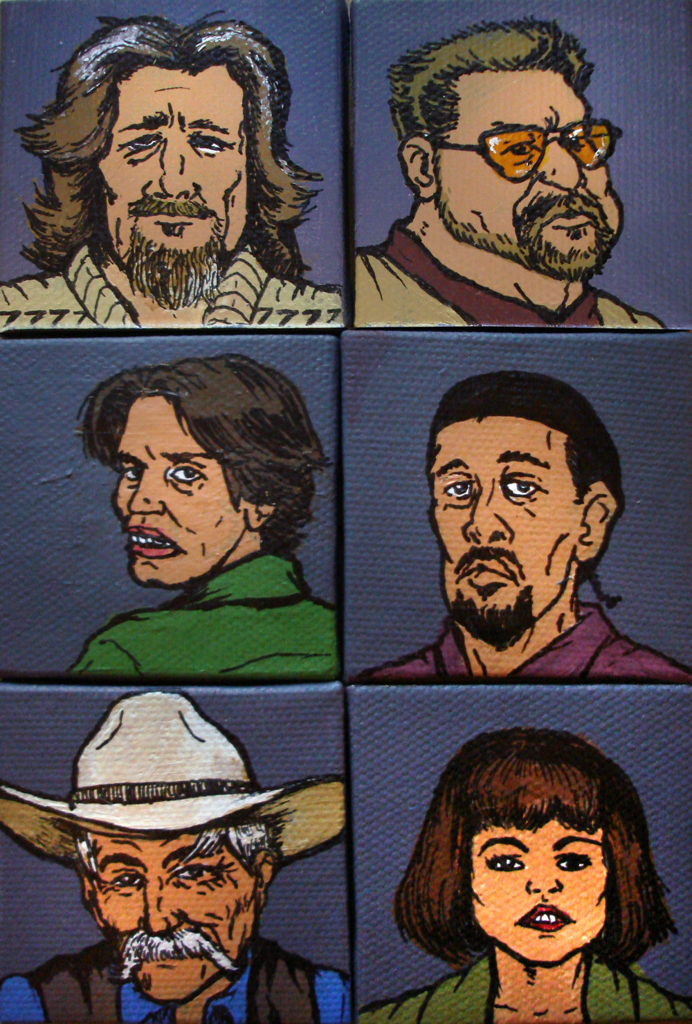 "The Big Lebowski one-of-a-kind set of 2"" x 2"" miniature acrylic paintings."