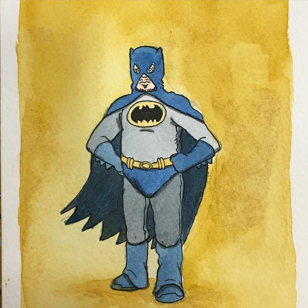 "Batman from the Ugly Superheroes series. 5"" x 7"" watercolor painting made exclusively for Bakersfield Comic Con."