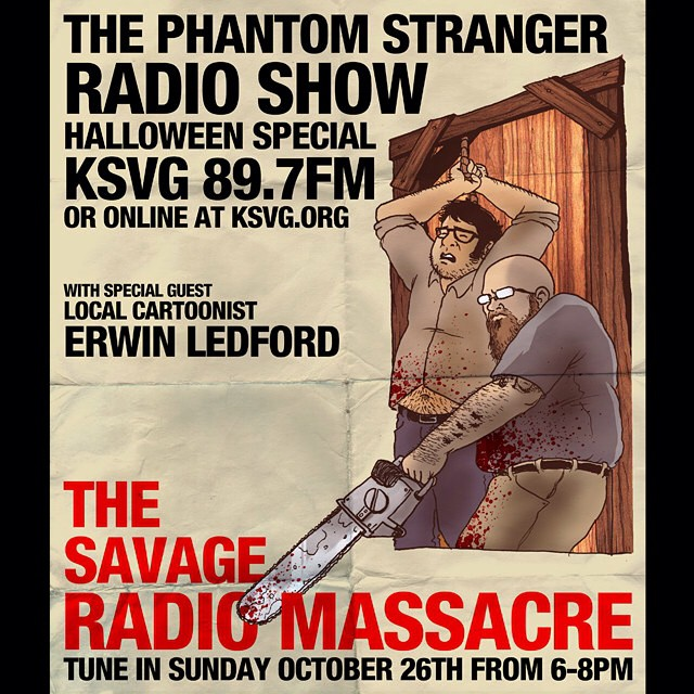 Promotional art for The Phantom Stranger Radio Show in Bakersfield, CA.