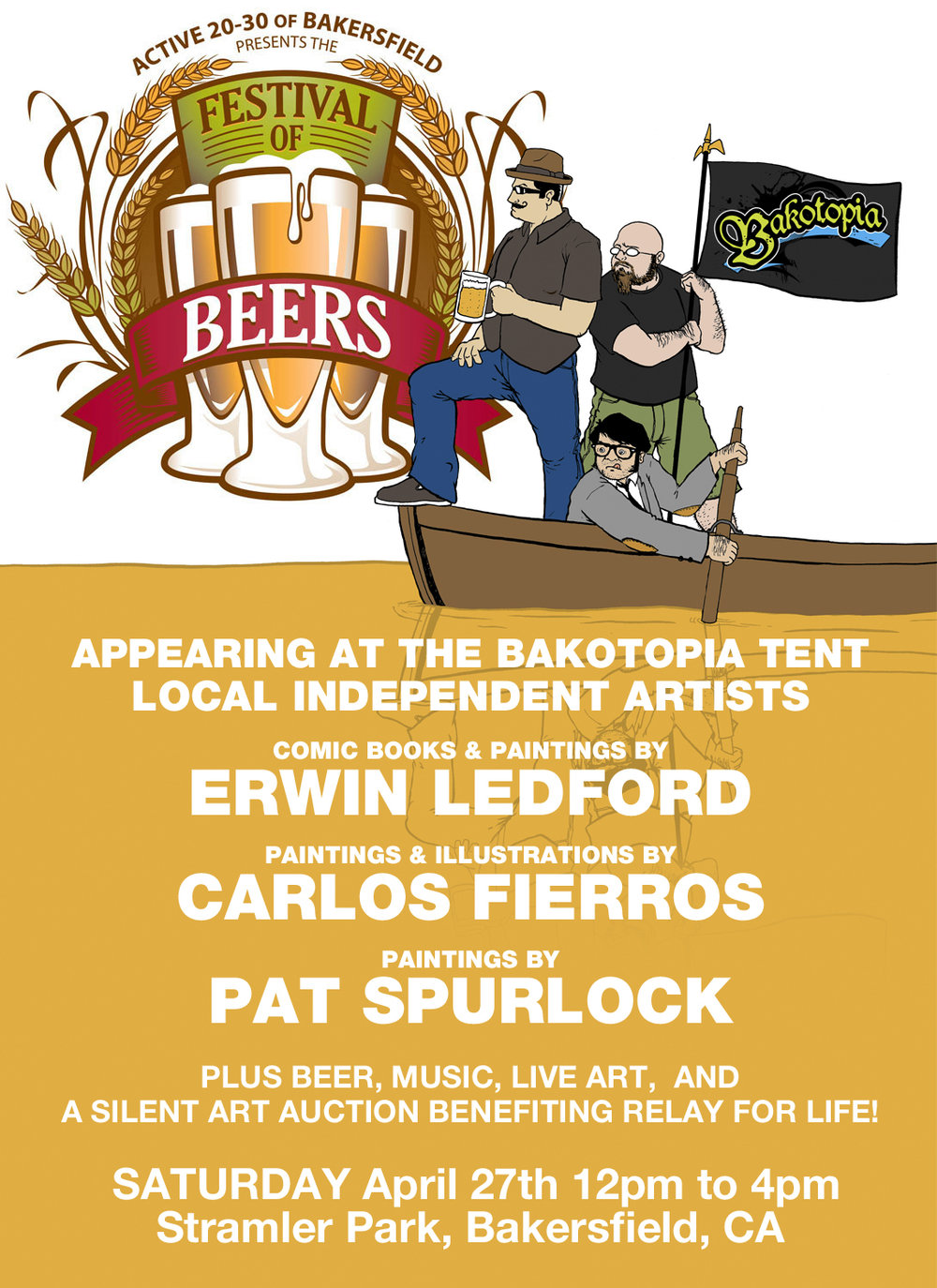 Promotional artwork for the Bakotopia Artist tent at the 2014 Festival of Beers in Bakersfield, CA.