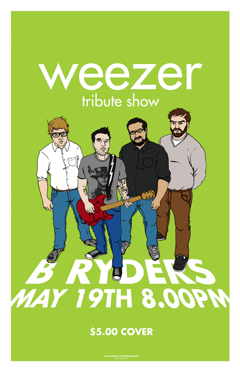 Promotional art for Weezer tribute show in Bakersfield, CA.