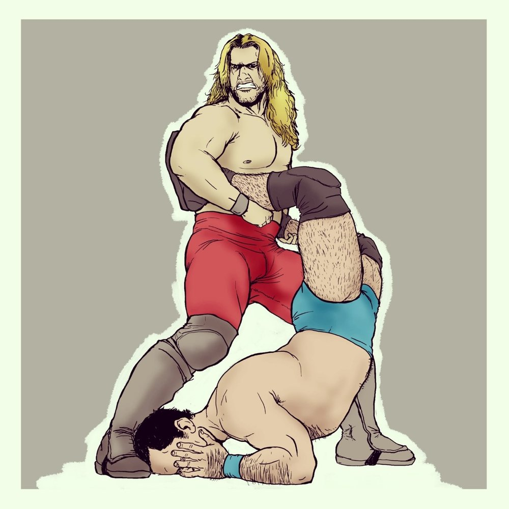 Chris Jericho illustration in color, featured in black & white in The Plainest Plane Vol. 2.