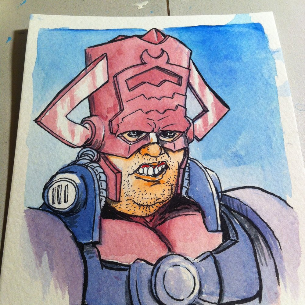 "Galactus from the Ugly Superheroes series. 5"" x 7"" watercolor painting made exclusively for The East Bay Comic Con. Can you tell I really like drawing Galactus?"