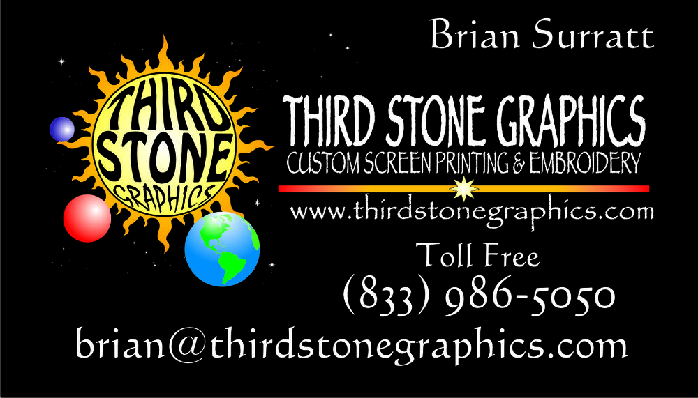 Third Stone Graphics   Brian Surratt  833-986-5050 brian@thirdstonegraphics.com
