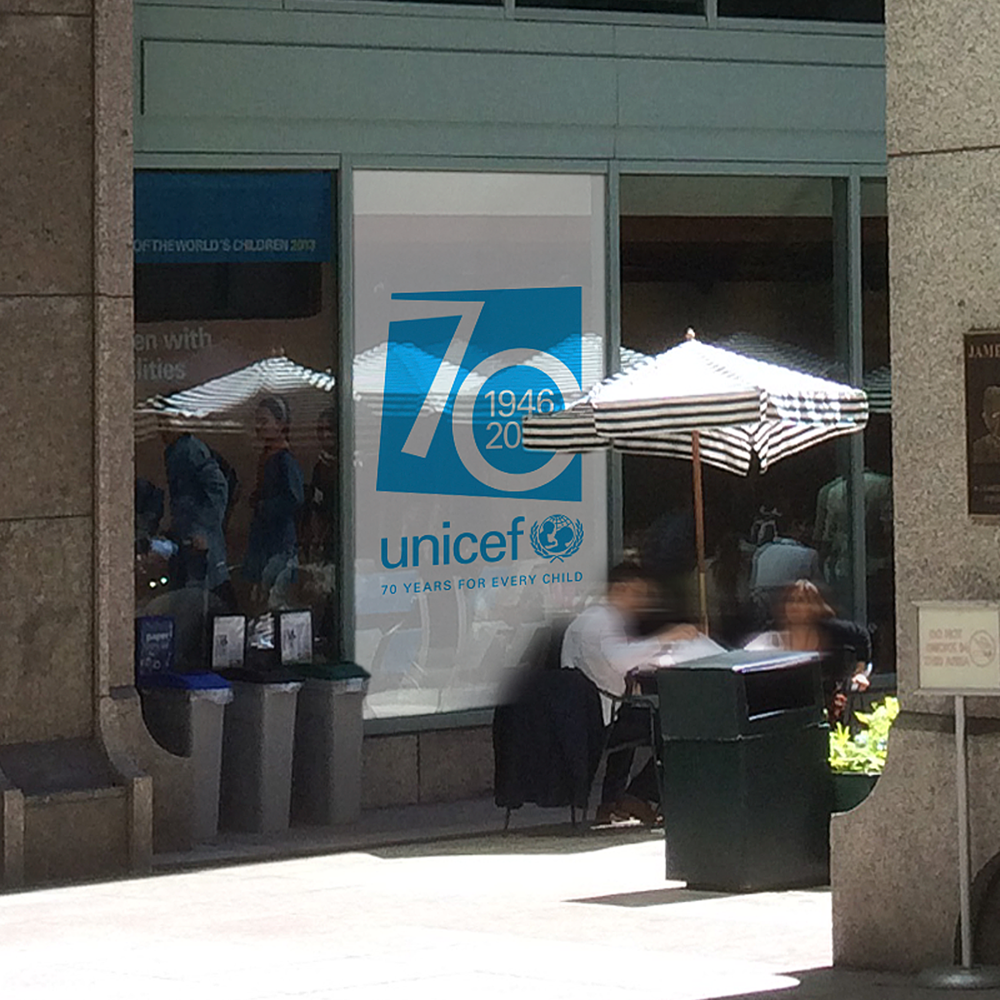 UNICEF Headquarters   Special milestones and other internal high-visibility branding projects such as exhibits, gift shop signage, and interior graphics.