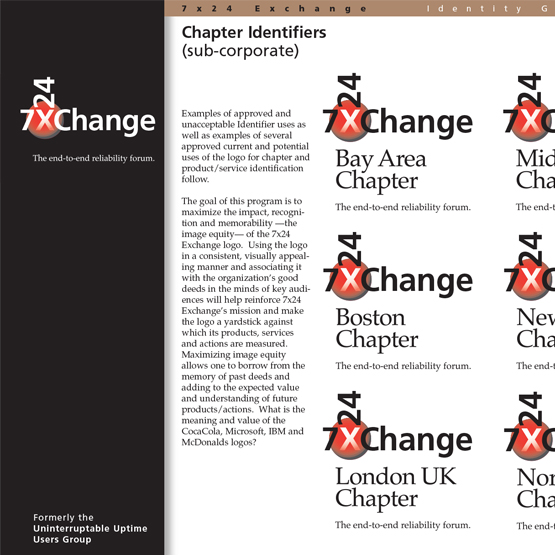 7x24 Exchange   Working with management consultants to generate and implement a name change, this rebranding increased membership and opened chapters around the world which required online graphic standards and assets.
