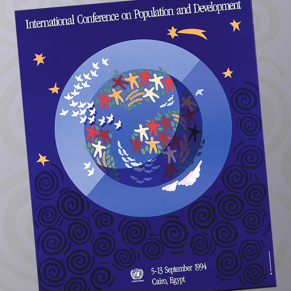 United Nations   Credit to the principals of the Kelleher & Tait Design Group for collaborating on the design for this international conference. Poster, promotion and collateral material, and 3D stage setting.