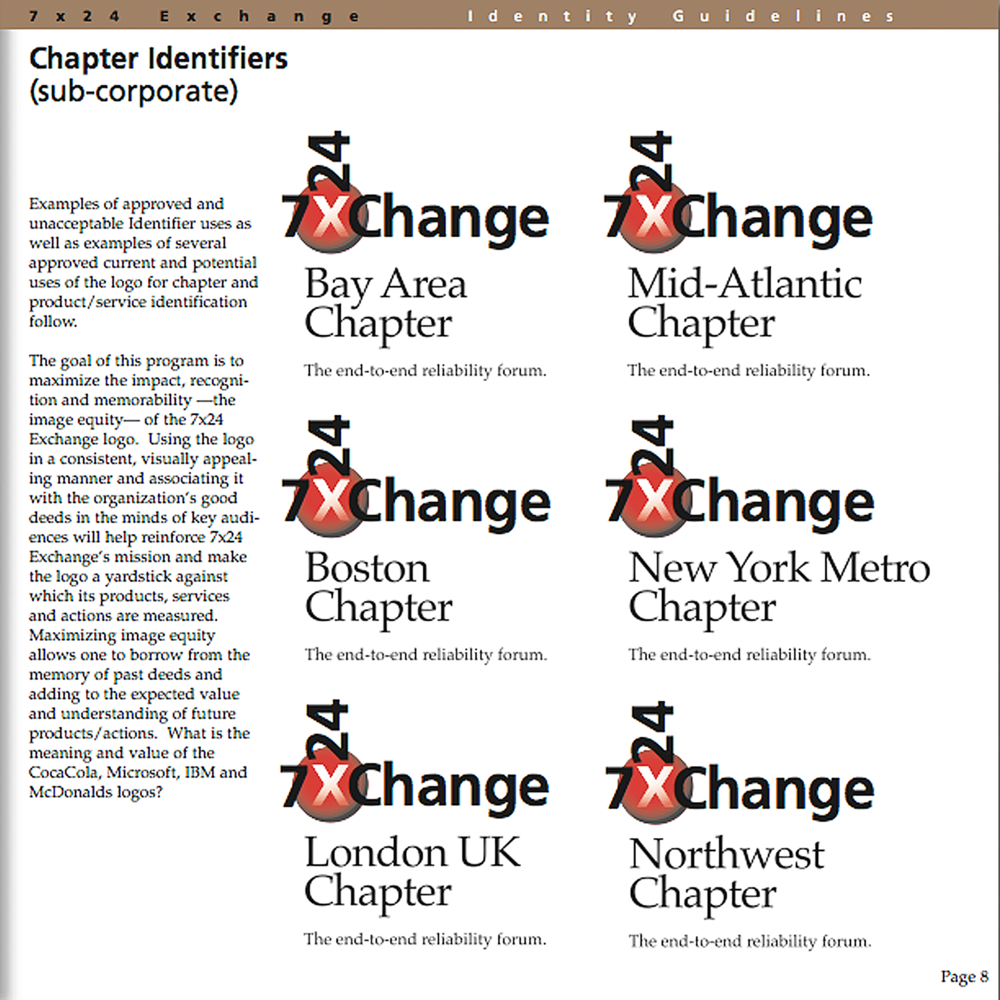 7x24 Exchange   Working with management consultants this rebranding increased membership and opened chapters around the world which required online graphic standards and assets.