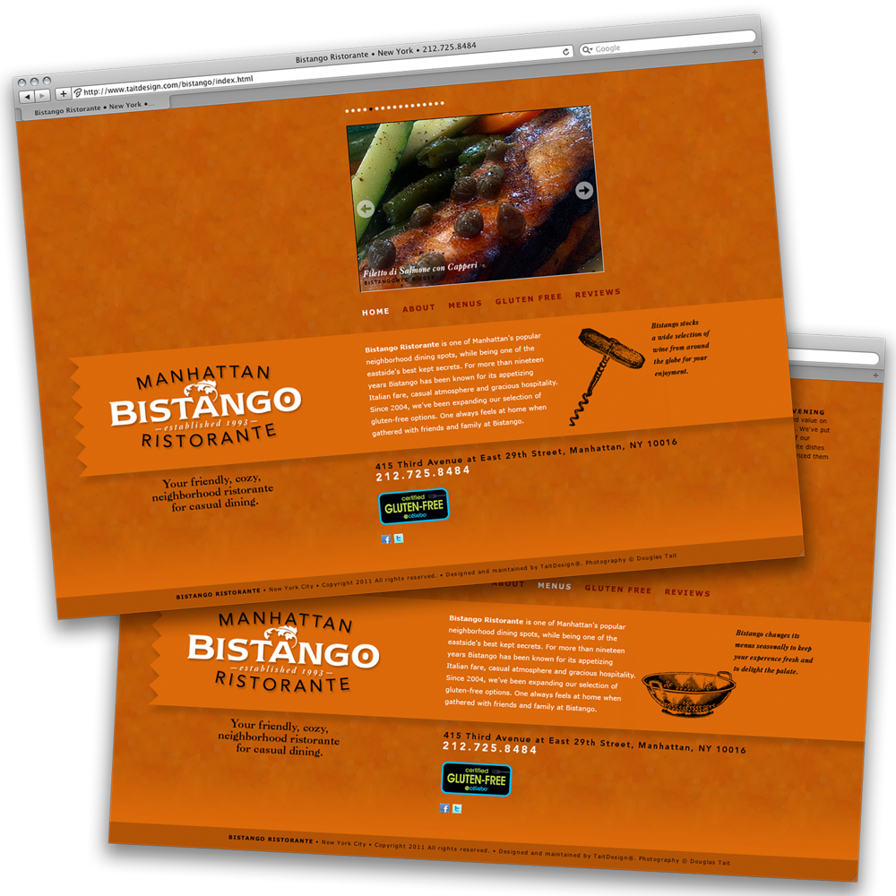 Bistango Ristorante at East 29th Street   Updating a website is key to returning viewers, and absolute for restaurant patrons. The website design for this establishment changed about one a year while maintaining its traffic and adjusting to a fast-changing neighborhood.