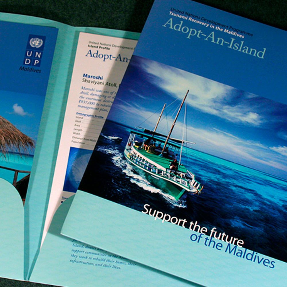 United Nations Development Program   An informative and fundraising package for Adopt-An-Island, a campaign created to assist in the recovery of the 1,000-island nation of the Maldives after the 2004 Tsunami.
