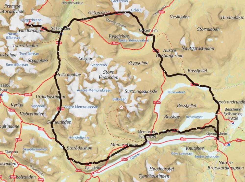 Den planlagte rute med afstikker til Galdhøpiggen