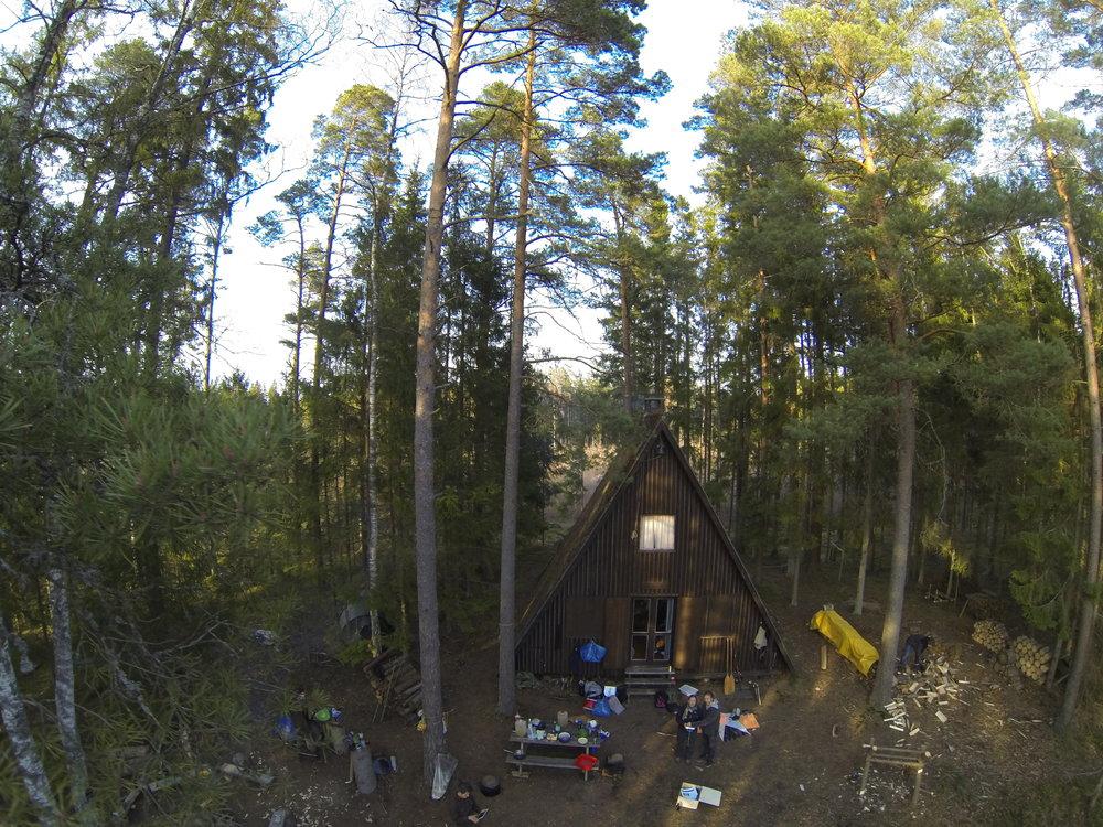 Huset set fra drone - fra en tur i påsken 2012