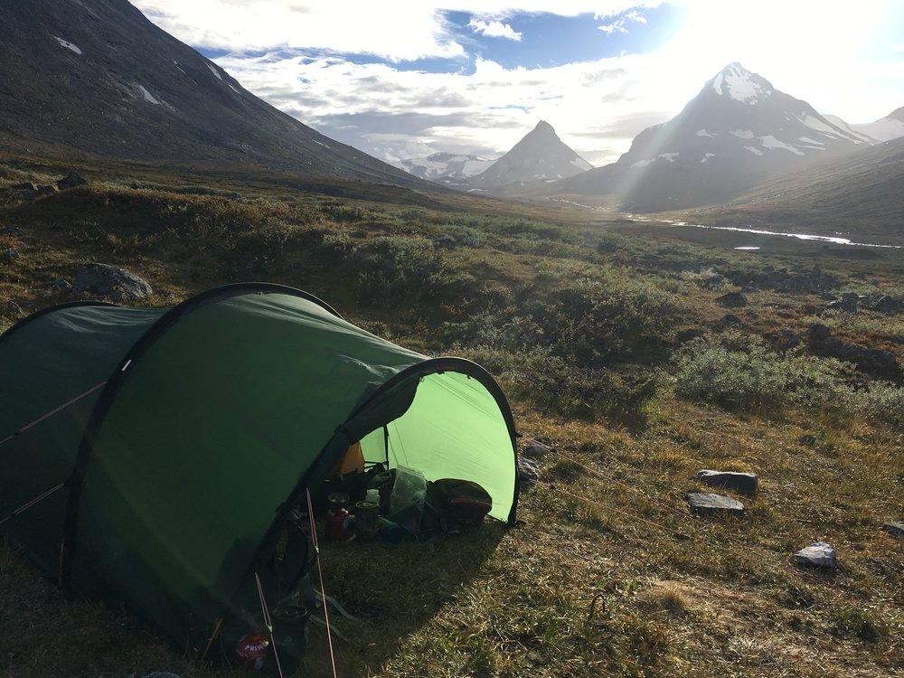 Teltet med åben apsis i Jotunheimen 2016
