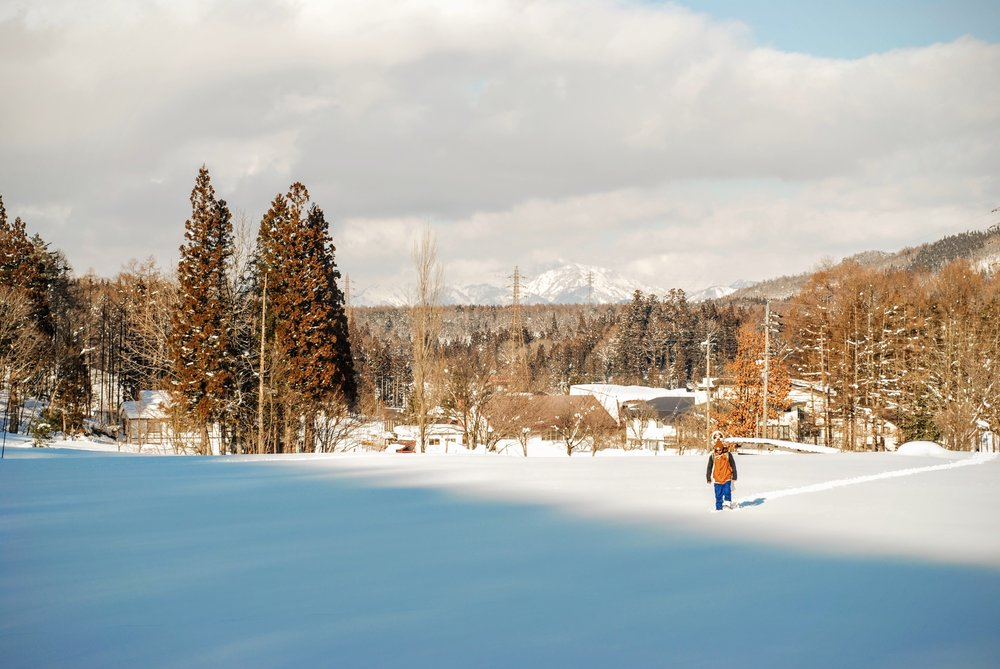 Starten til eventyret Til venstre uden for motivet er vores skihop