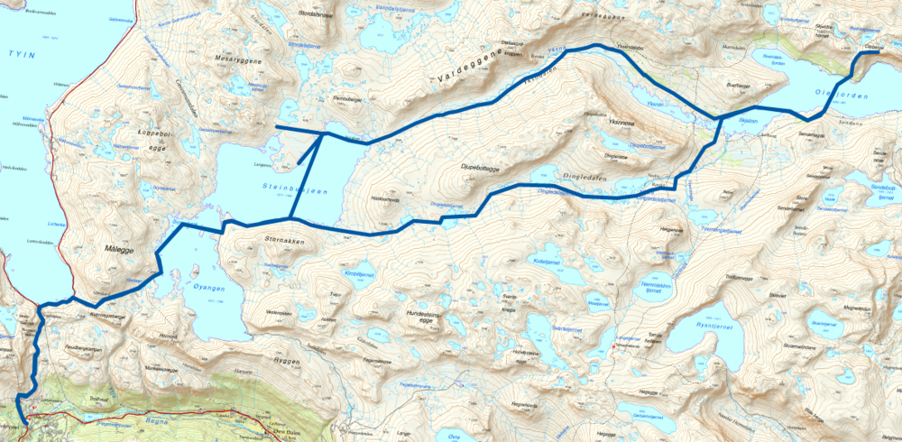 Den planlagte rute inklusiv afstikkere til mulige skavler til snehuler. Det første stykke op til den sydlige ende af Tyin-søen var planlagt med bil.