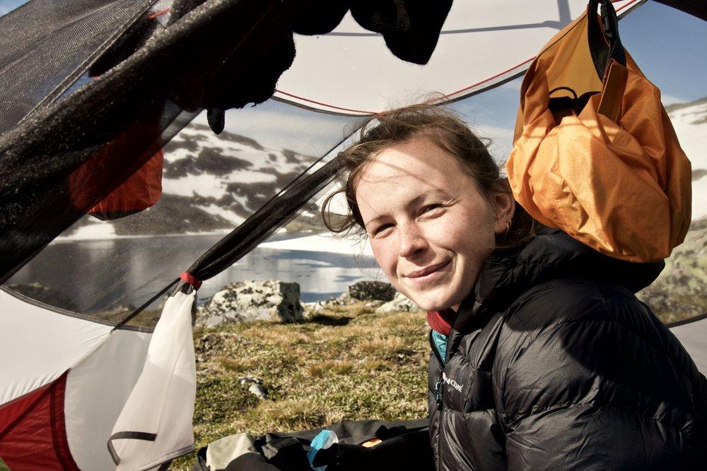 Godmorgen fra teltet ved  Hinnotjønne