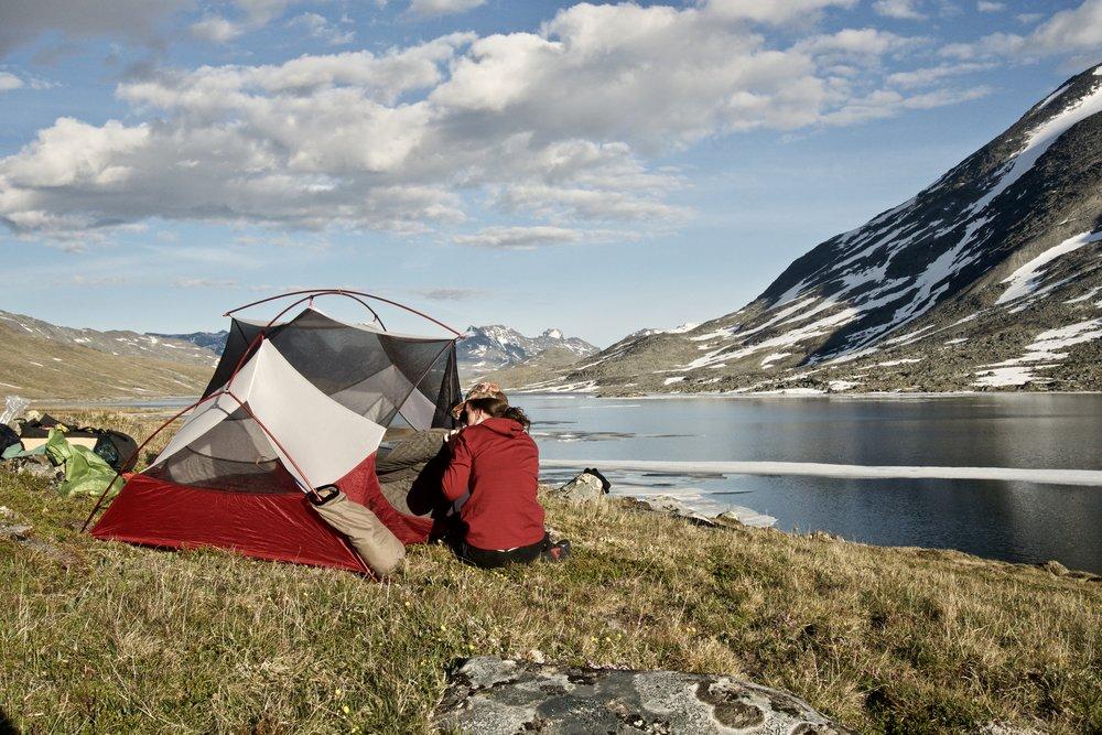 Aftenens lejrplads på Langvatnet 's østside.