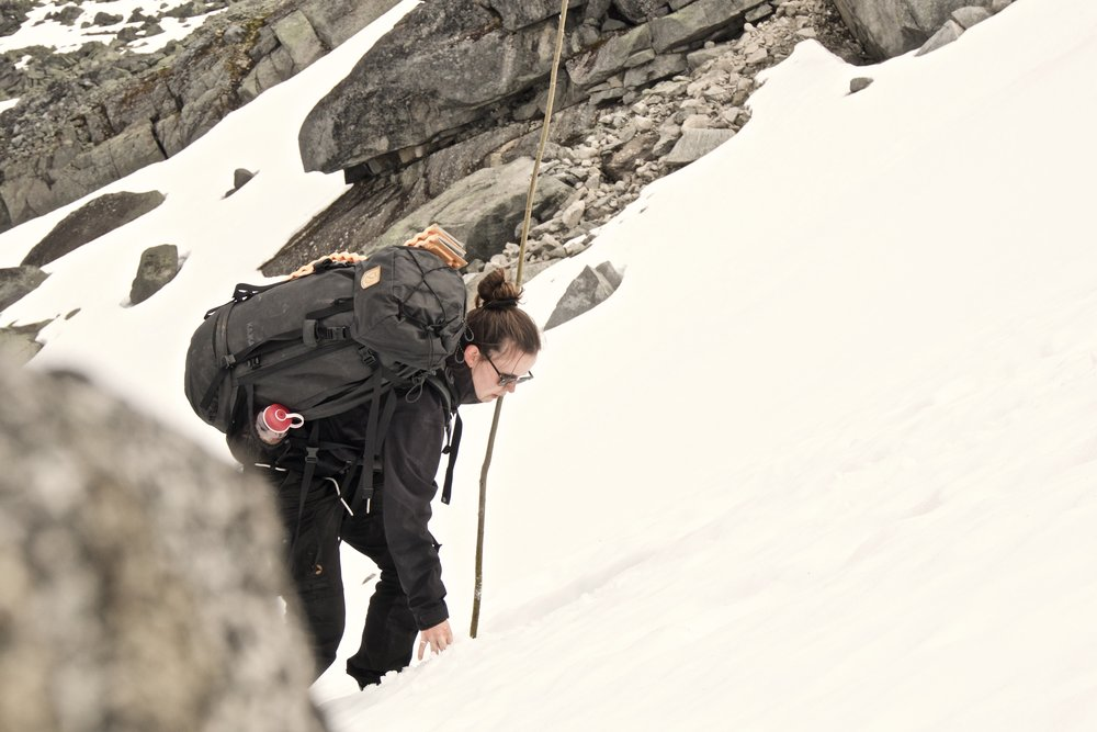 Op igennem sneen på Rauddalsbandet
