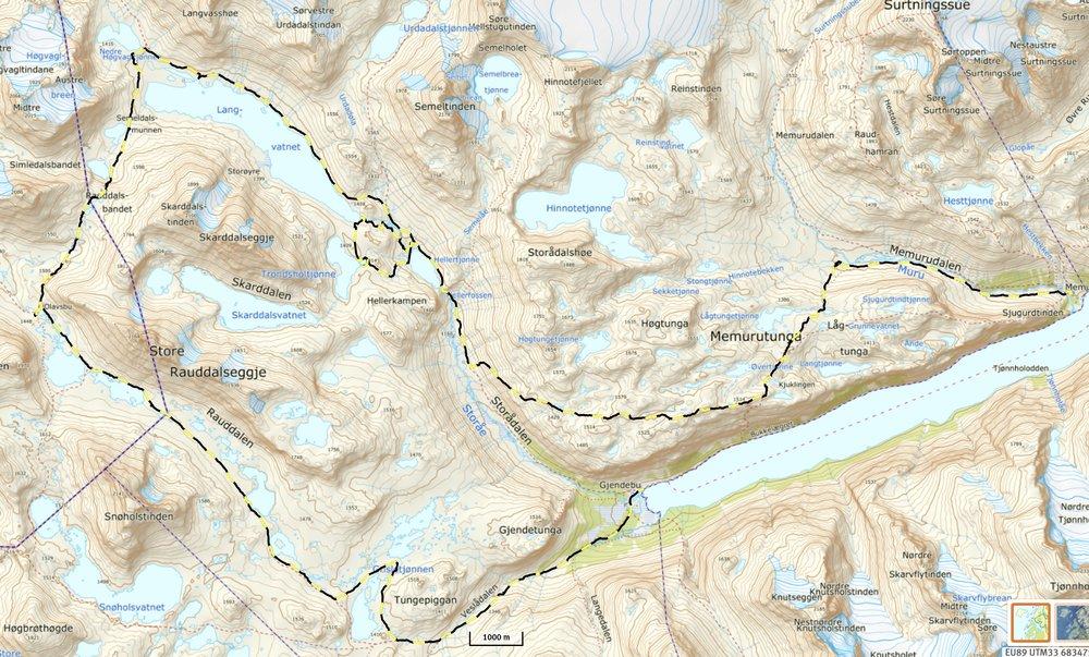 Ruten gik mod uret - fra  Memurubu  i øst til  Gjendebu  i vest.