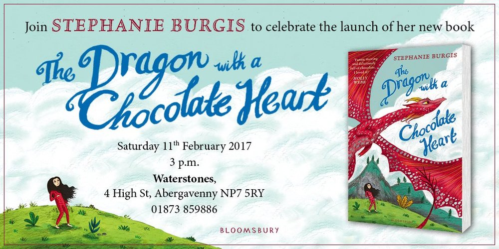 The book launch for The Dragon with a Chocolate Heart is open to the public. You can find all of the details you need at the Facebook event page. Copies of the book can be reserved with Waterstones Abergavenny by calling 01873 859 886.  Additionally, you can purchase the book online at Waterstones or Amazon.