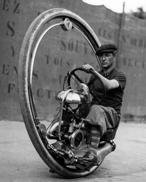 #FBF: The Monowheel, 1933. Can you imagine driving something like this?