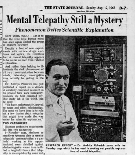 1962 Newspaper article on Puharich's early work with telepathy