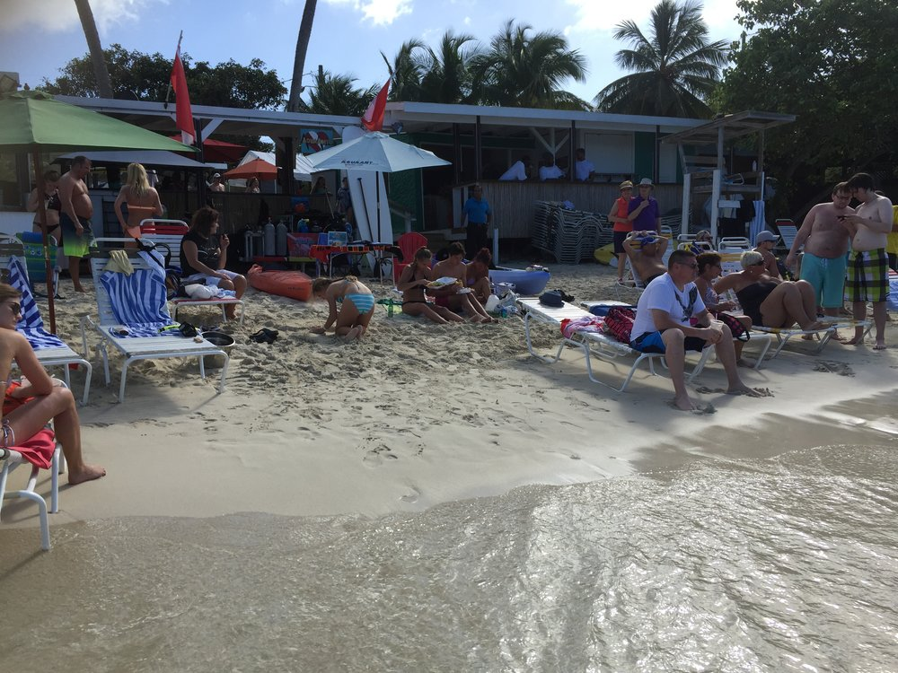 The crowds can get pretty thick at Coki Beach