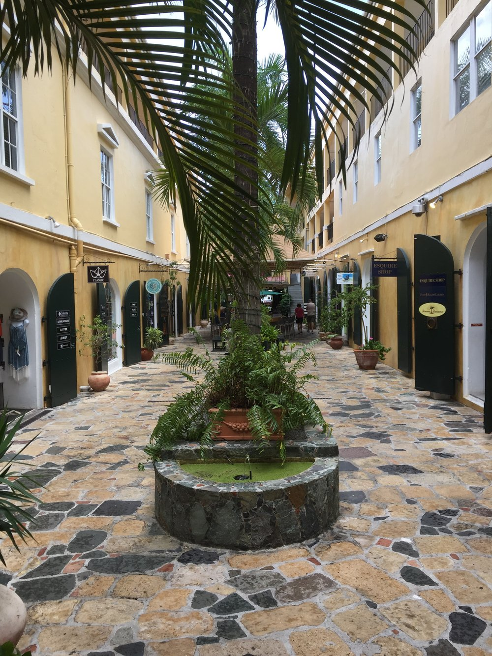 Quaint little shopping areas like this one abound in Charlotte Amalie