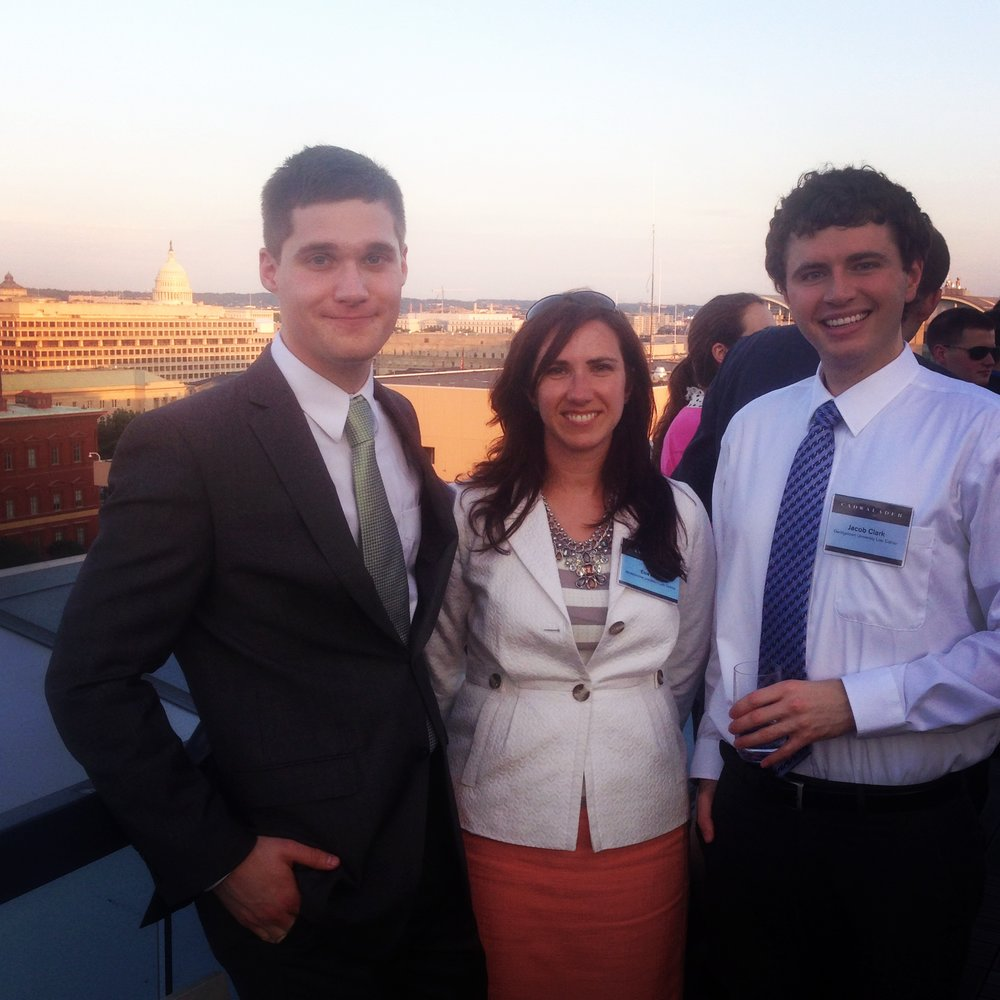 Me and two of my classmates on the rooftop deck of a DC law firm for a networking event